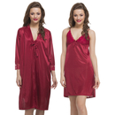Satin 2pc Nightwear Set In Maroon