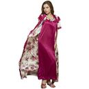 2 Pcs Printed Satin Nightwear In Wine - Robe & Nightie (FREE-SIZE)
