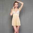 Babydoll With Sexy Back In Golden Satin