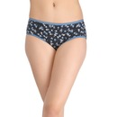 Cotton High Waist Printed Hipster - Blue