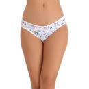 Cotton Spandex Bikini In White With Funky Print