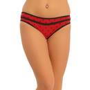 Mid Waist Bikini With Floral Print - Red