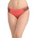 Cotton Mid Waist Bikini With Lace Sides - Pink
