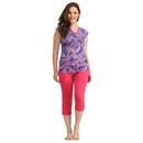 Cotton V-neck Printed T-shirt & Solid Capri - Purple