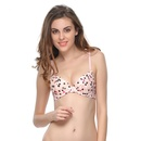 Laser Cut Invisible Printed Push-Up Bra In Tropical Peach