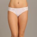 Mid Waist Bikini With Tone On Tone Side Wings - White