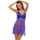 Blue Sheer Night Slip With Sexy Back