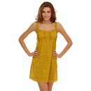 Cotton Short Dress With Cute Ruffles In Yellow