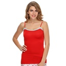 Soft Cotton Lacy Camisole In Red