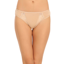 Cotton Mid Waist Bikini With Lace Side Wings - Skin
