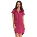 Satin High-Low Sleepshirt With Contrast Trims - Purple