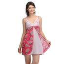 Satin Printed Front Slit Lacy Cup Babydoll - Pink