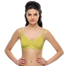 Non Padded Moulded Cotton T-Shirt Bra In Green