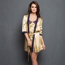 Set of 2- Golden Satin Short Nightslip with Robe
