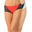 Set of 2 Cotton High Waist Hipsters - Red & Black