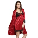 2 Pcs Satin Nightwear Set in Maroon & Black - Short Robe & Nightie