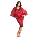 2 Pcs Satin Nightwear Set in Maroon & Black - Kaftan Top & Pyjama