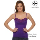 4-Way Stretch, Lacy Cotton Camisole In Purple