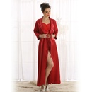 Sultry Satin Long Robe In Maroon
