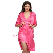 2 PCS SATIN NIGHTWEAR SET IN Pink - SHORT ROBE & NIGHTIE