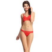 Lace & Polyamide Bra And Panty Set In Red