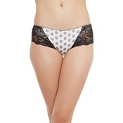 Cotton High Waist Hipster With Lace Side Wings - Grey