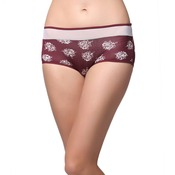 Cotton High Waist Printed Hipster With Powernet At Waist - Maroon