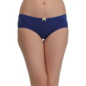 Cotton Mid Waist Bikini With Contrast Bow At Centre - Blue
