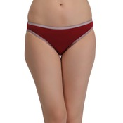 Cotton Mid Waist Bikini With Contrast Elastic Trims - Maroon