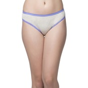 Cotton Mid Waist Bikini With Contrast Lacy Leg- Grey