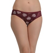 Cotton Mid Waist Bikini With One Sided Lace - Maroon