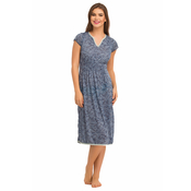Cotton Nighty With Lace At Neckline - Blue