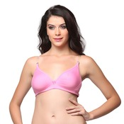 Cotton Non-Padded Wirefree Demi Cup T-Shirt Bra - Pink