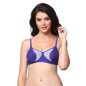 Cotton Non padded Wirefree Lacy Full Cup Bra - Purple