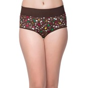 Cotton Printed High Waist Tummy Tucking Bikini - Brown