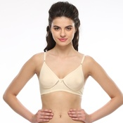 Cotton Rich Non Padded Wirefree T-shirt Bra In Nude