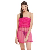 Frilled Mesh babydoll With Thong - Pink