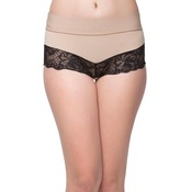 High Waist Tummy Tucking Lacy Hipster - Beige