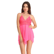Lace And Powernet Babydoll With Matching Thong - Pink