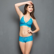 Lace Bra & Panty Set In Turquoise