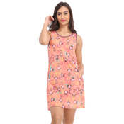 Peach Nightie With Lace Pockets & Racer Back Gathers