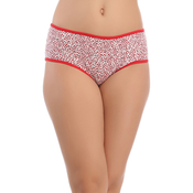 Red Cotton Spandex Hipster With Scattered Dotted Print