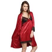 2 Pcs Satin Nightwear Set in Maroon & Black - Short Robe & Nightie