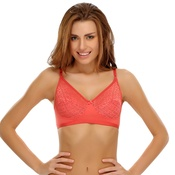 Non-padded Bra With Lace Cups In Reddish Pink