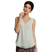 Layered Sleeveless Georgette Top in Sea Green