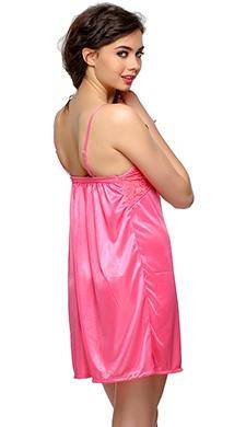 2 PCS SATIN NIGHTWEAR SET IN Pink - SHORT ROBE & NIGHTIE