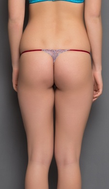 All Over Spandex Lace Thongs In Maroon