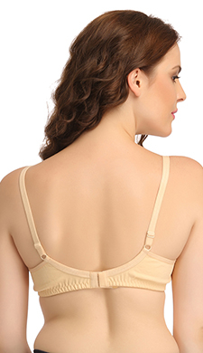Beige Cotton Non-Wired Non-Padded Plus Size Bra With U Back