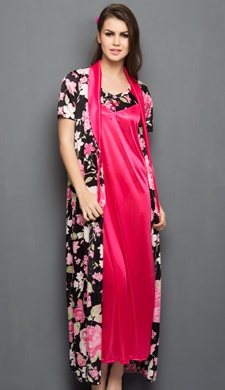 2 Pcs Printed Satin Nightwear In Black & Pink - Robe & Nightie