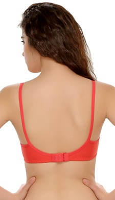 Cotton Padded Non-Wired T-Shirt In Reddish Pink